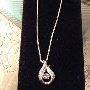 Diamond zircon pendant moveable center stone 925
